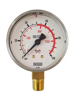 "MANOMETER 0-50 BAR 1/4"" NPT Ø63MM"
